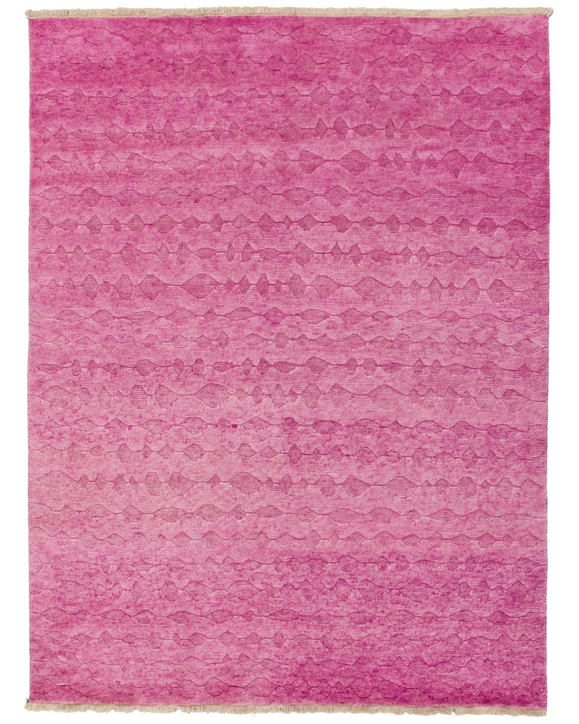Bhutan handknuten tjock ullmatta rosa enfärgad reliefklippt mönster från Nepal