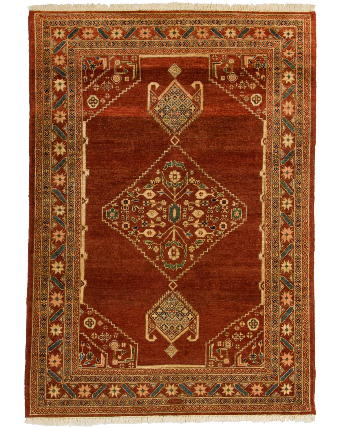 Medaljong mönstrad handknuten Dehbaf matta på mellerad rostfärgad botten