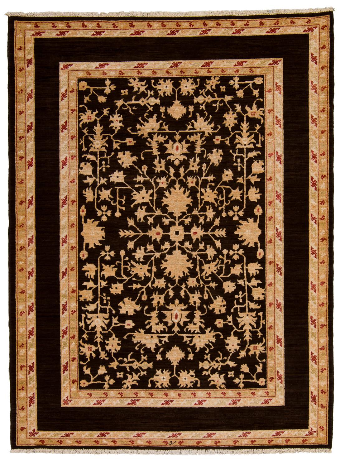 Dehbaf matta av växtfärgade garner med enfärgad brunsvart huvudbård med vackert innerparti gyllene nyanser