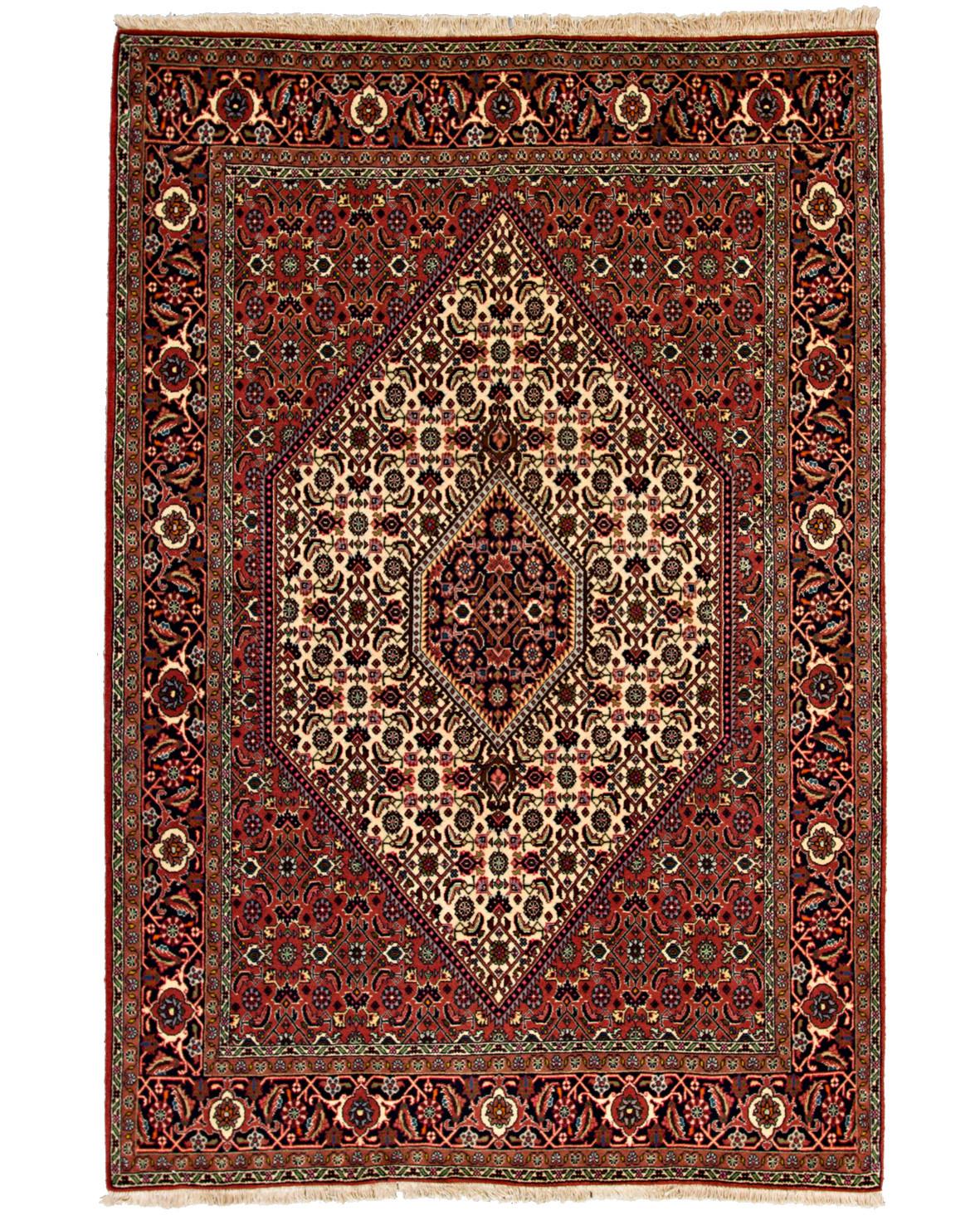 Bidjar slitstark persisk matta med beige rombmedaljong, heratimotiv och palmettbård