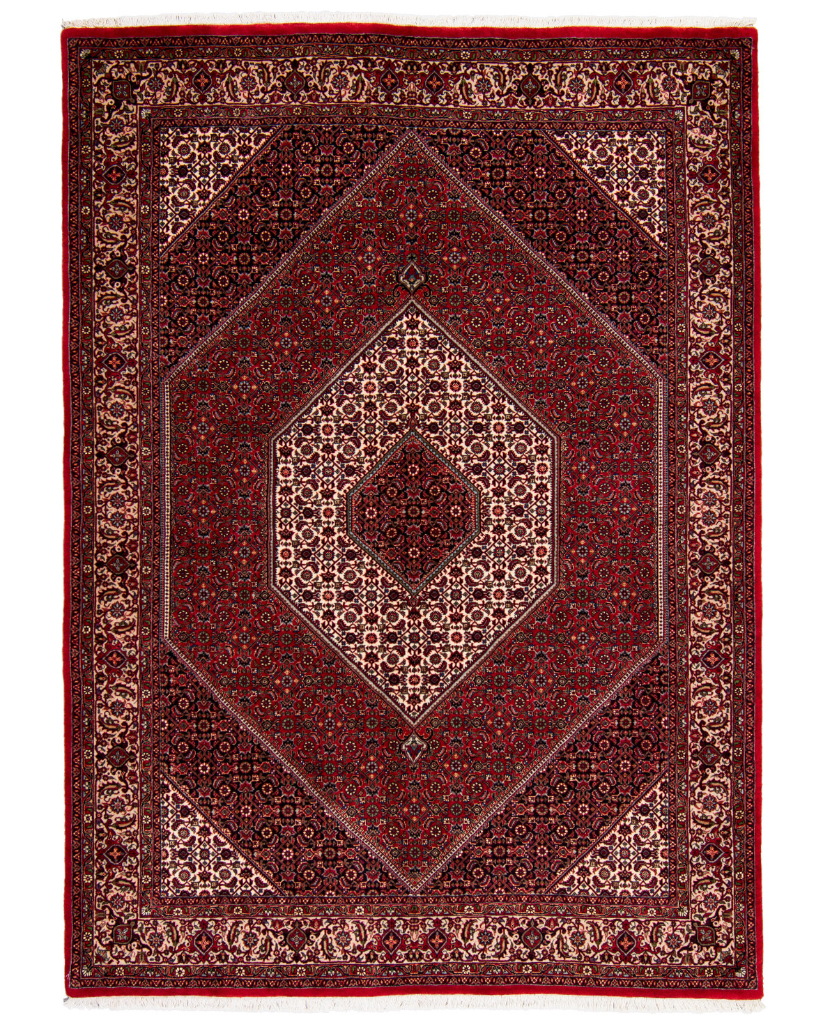 Tätknuten persisk Bidjar matta med silkesinslag