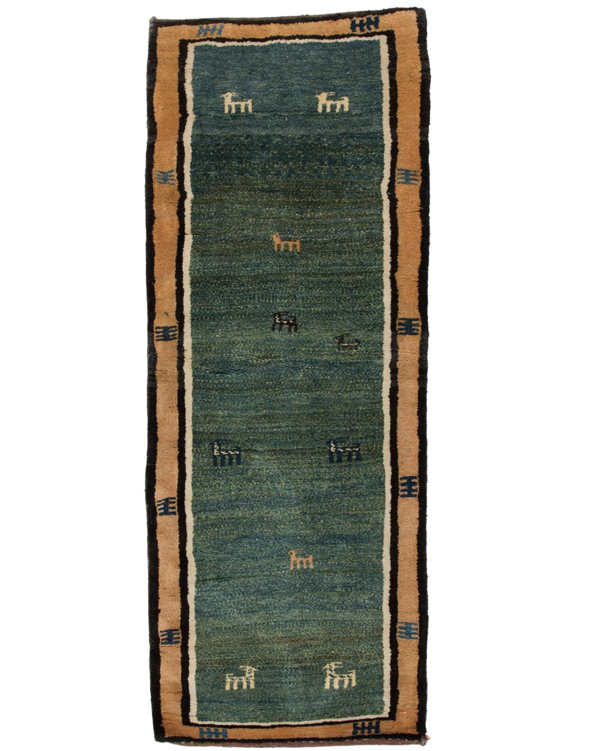 Persisk grön Gabbeh matta 85x224cm hos Nessims