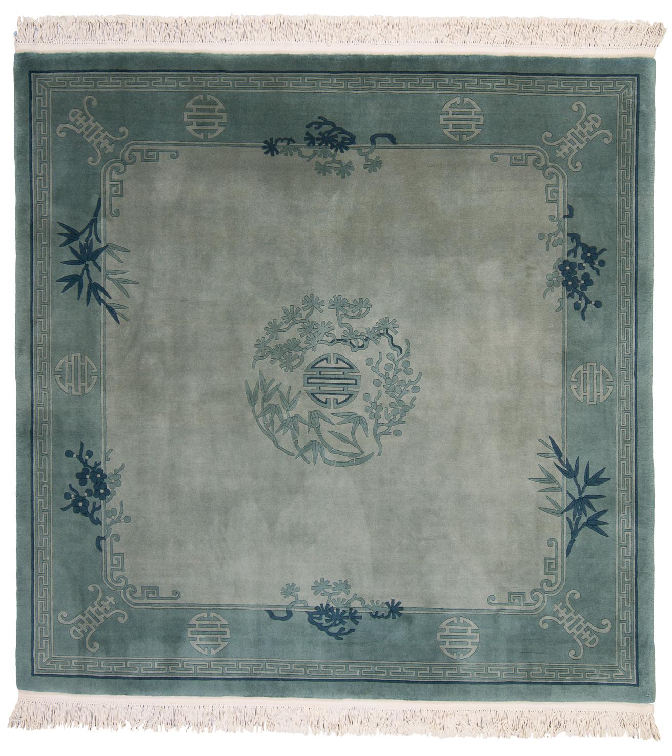 Ovanlig handknuten kvadratisk blågrön Kina matta 90Line