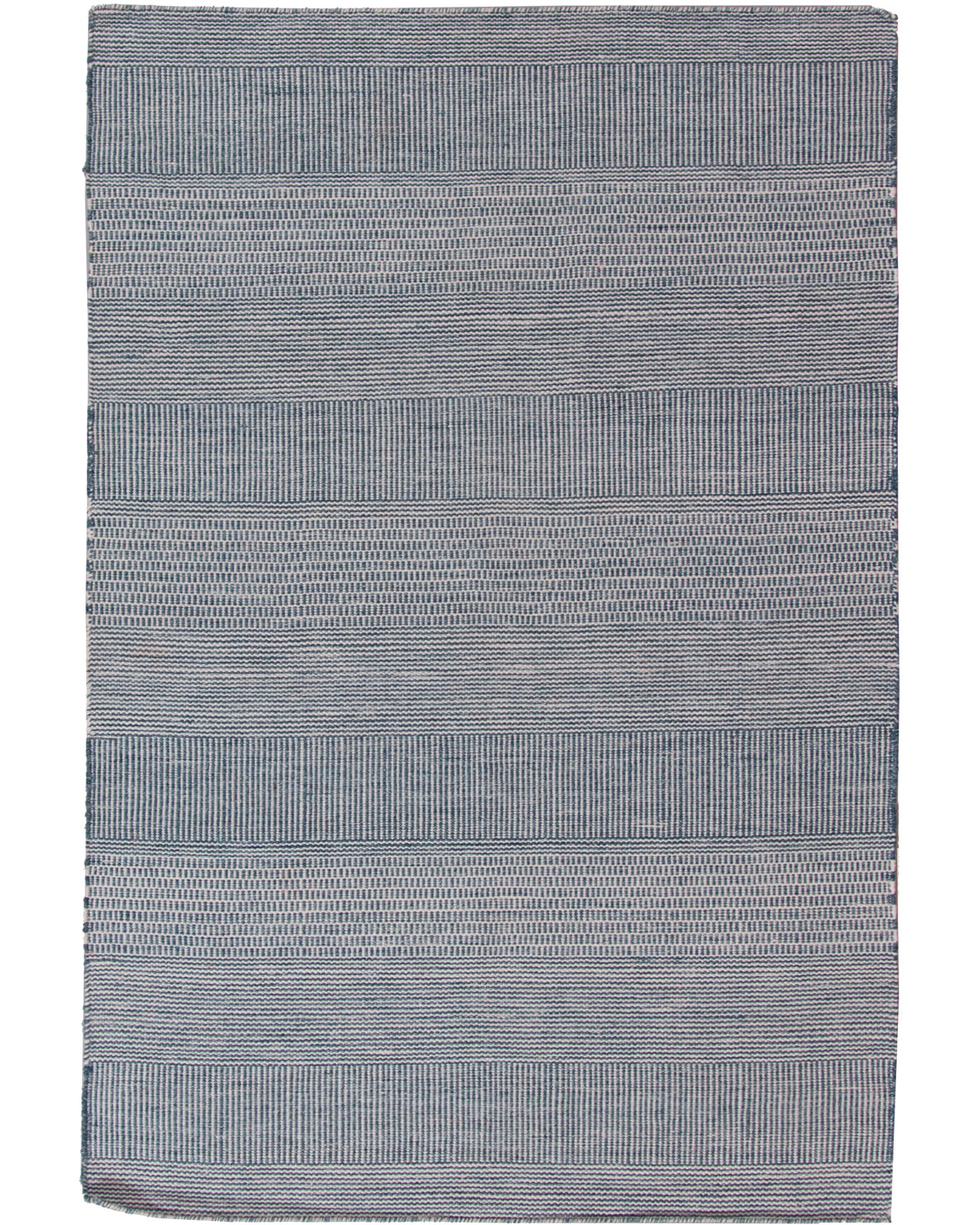 Klimatsmart blå handvävd matta Bohemian 200x290cm av material från återvunna PET flaskor i ett modernt randigt mönster
