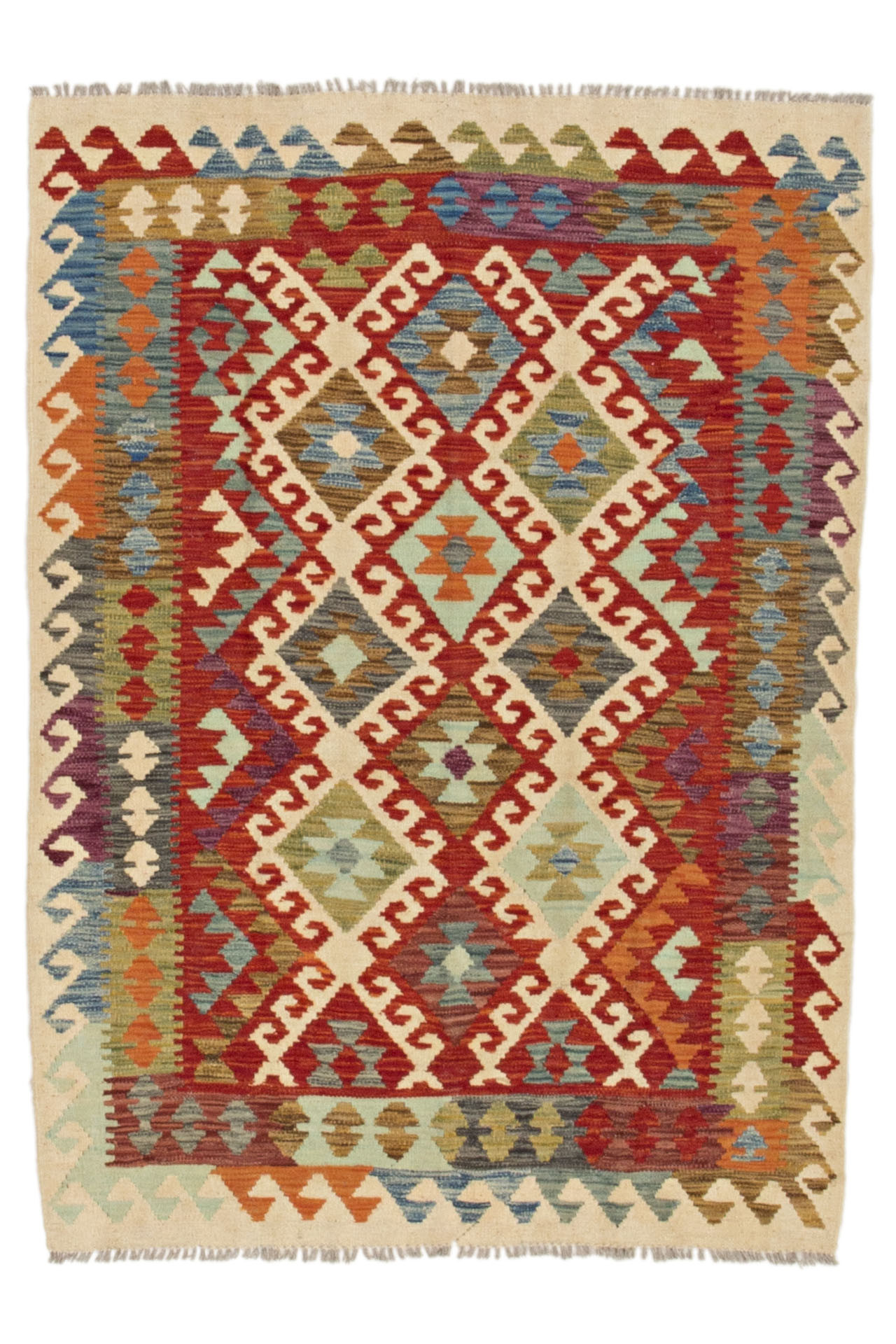 Handvävd Kelim matta av ull från Afghanistan med vacker rödmellerad bottenfärg