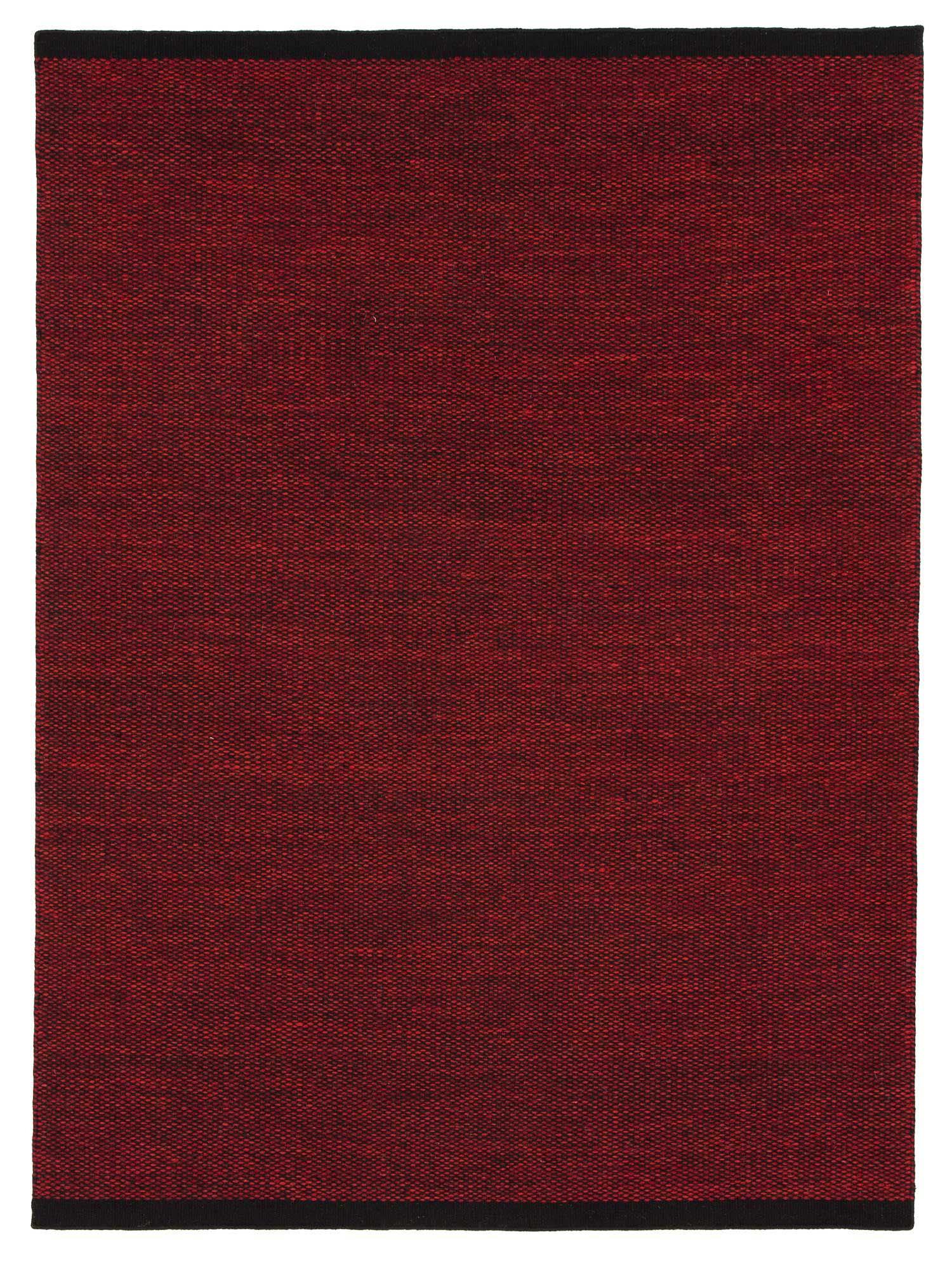 Modern handvävd och vändbar röd ullmatta Kivik