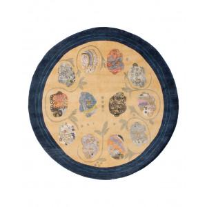 Modern handknuten rund Annapuna matta med elefanter av ull och silke hos Nessims