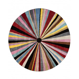 Handknuten rund ullmatta Bhutan diameter 250cm med randigt mönster i många olika färger