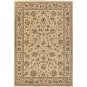Marino beige maskinvävd matta med lugg och ziegler mönster.