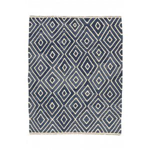 Kelim Moroccan handvävd blå matta med geometriskt modernt mönster