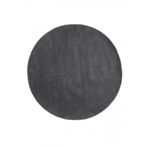 Moon hantuftad rund grå ullmatta