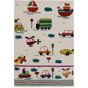 Barnmatta Happy Traffic på ljus bottenfärg med båtar, helikoptrar, lastbilar och bilar i glada färger 80x150cm