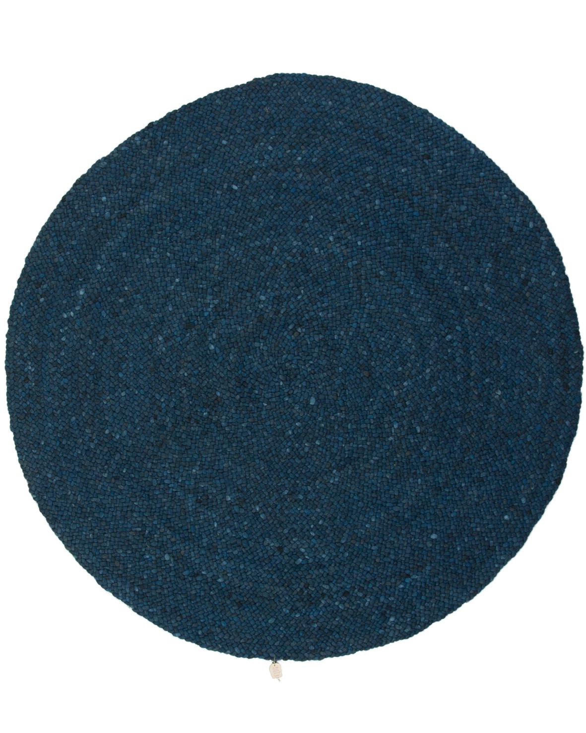 Handvävd rund vändbar blå ullmatta Salsa Jamaica