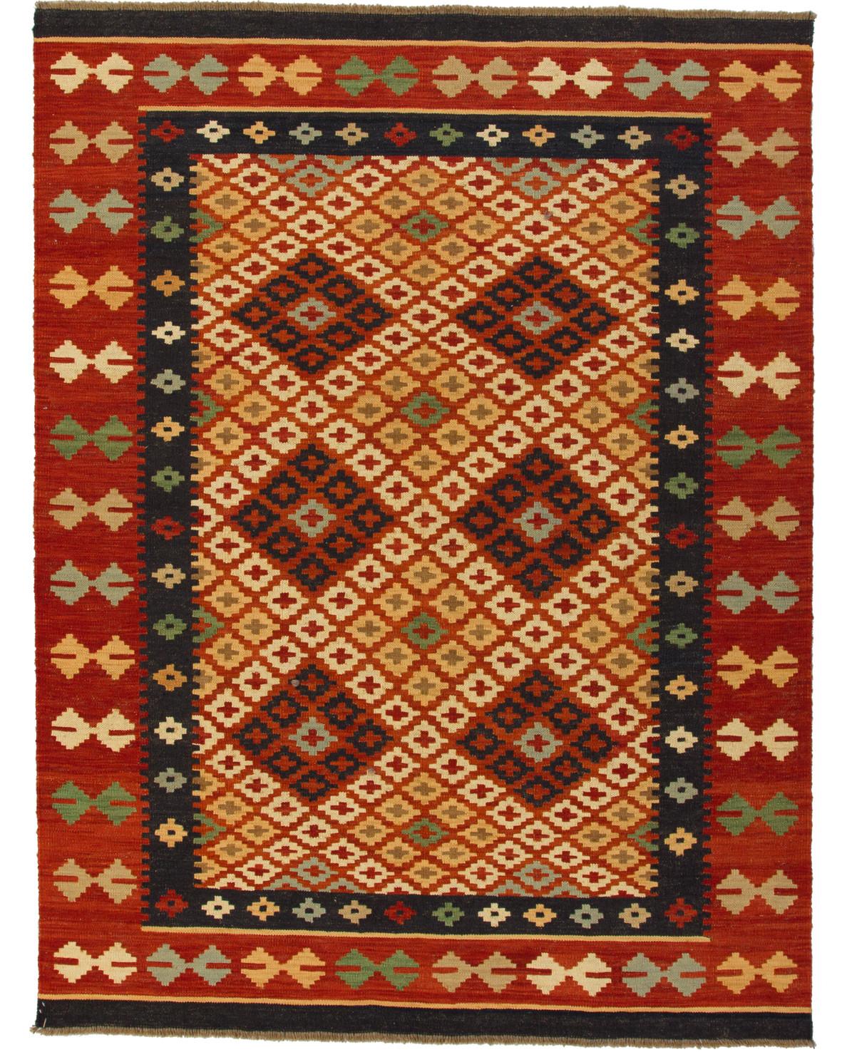 Handvävd Kelimmatta av ull med orientaliskt mönster och rostfärgad bård
