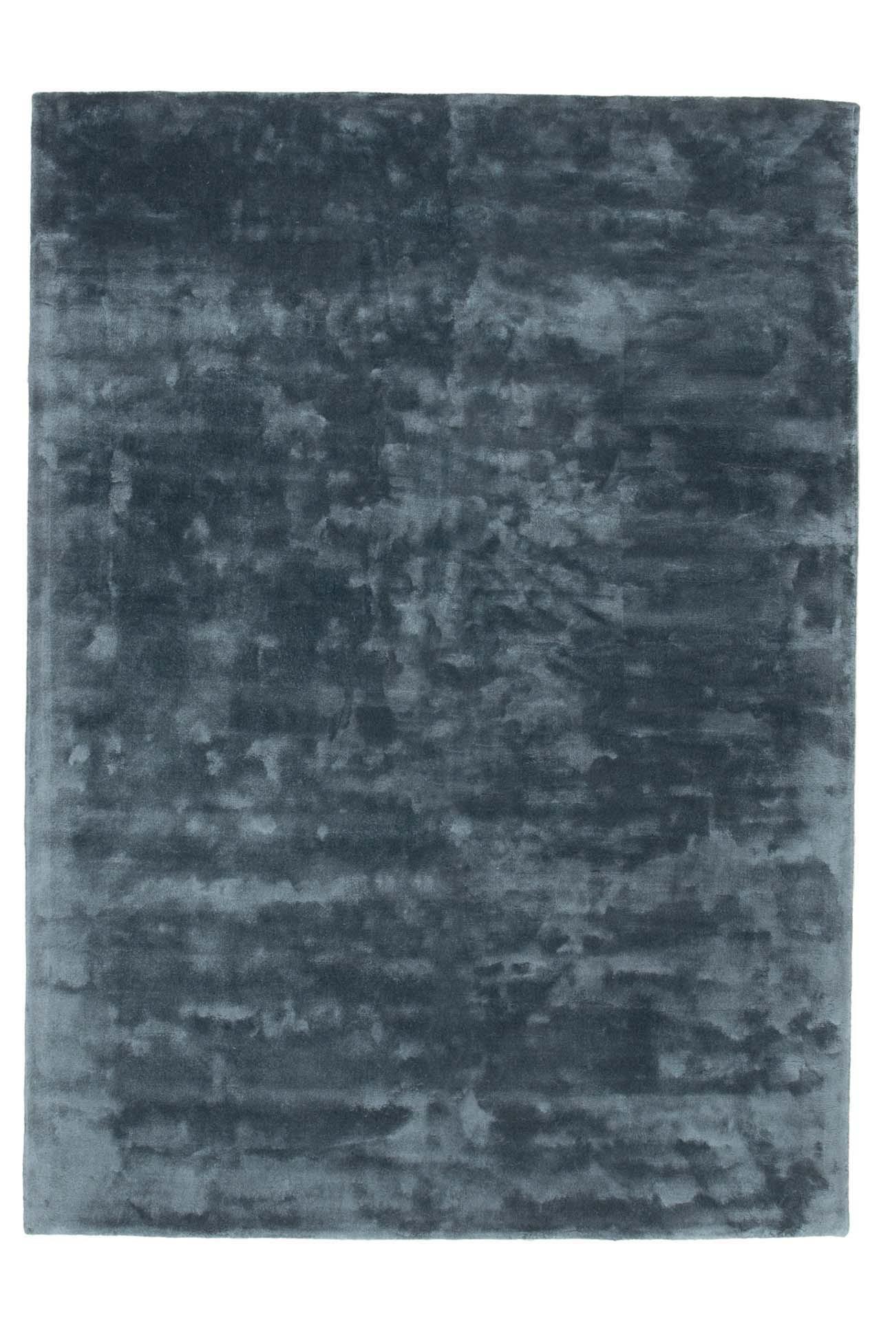 Sky handtuftad blå bambusilkes matta med tjock lugg och vacker lyster
