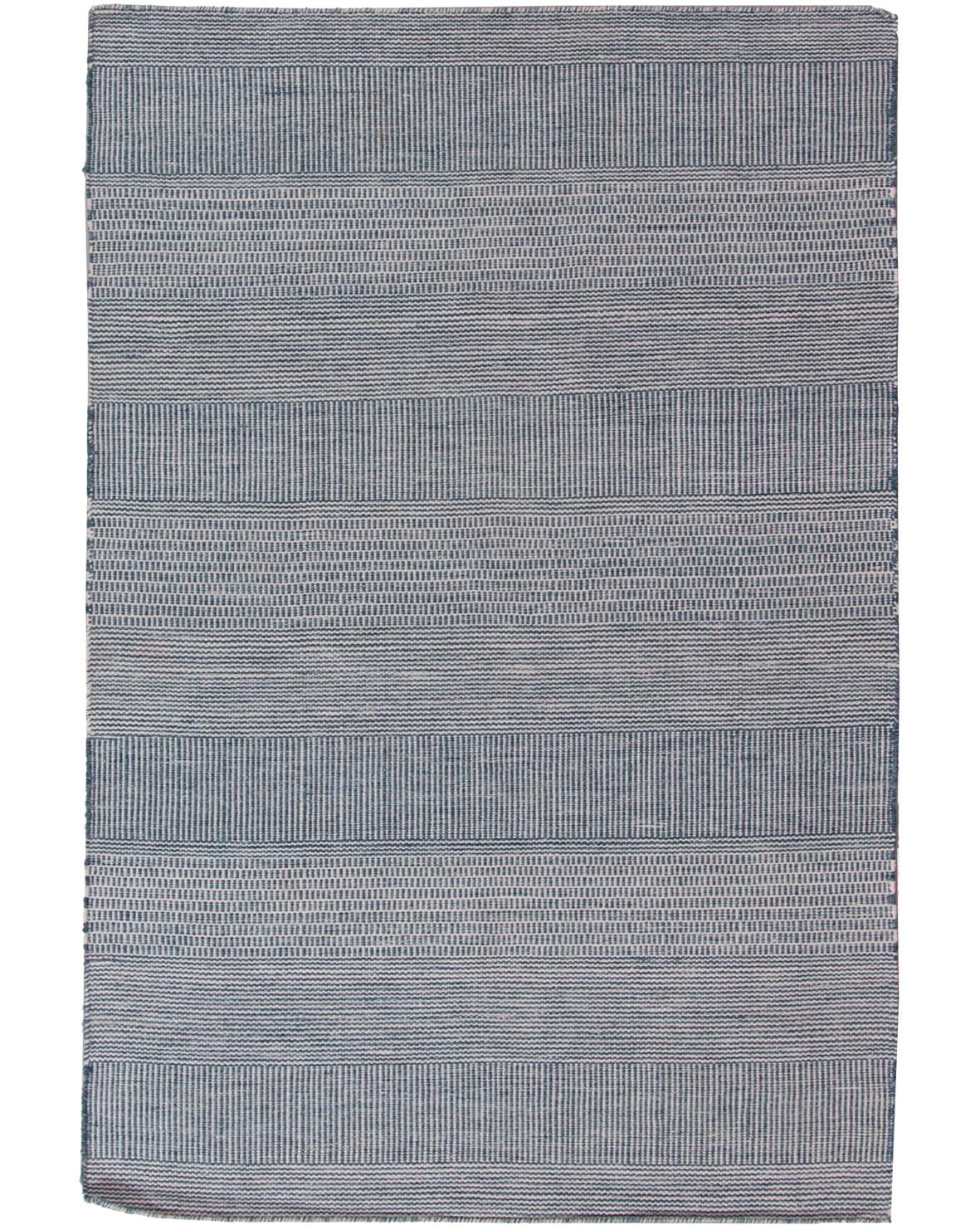 Klimatsmart blå handvävd matta Bohemian 160x230cm av material från återvunna PET flaskor i ett modernt randigt mönster