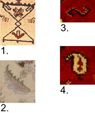 Motivbilder på mattor timglas akantusblad mir-e-bota livetsträd